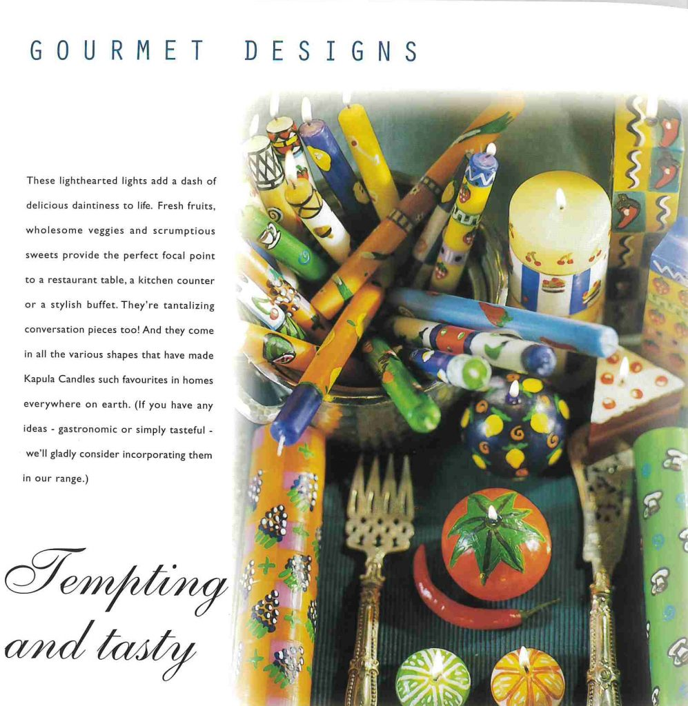 The personality of each range shines through in the copy for this brochure marketing a decorative candle manufacturer's wares.